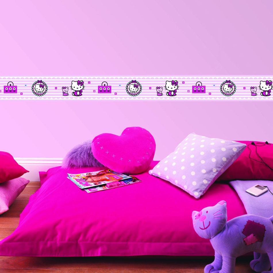 Hello kitty behangrand dekbeddenexpert - Versieren kinderkamer ...